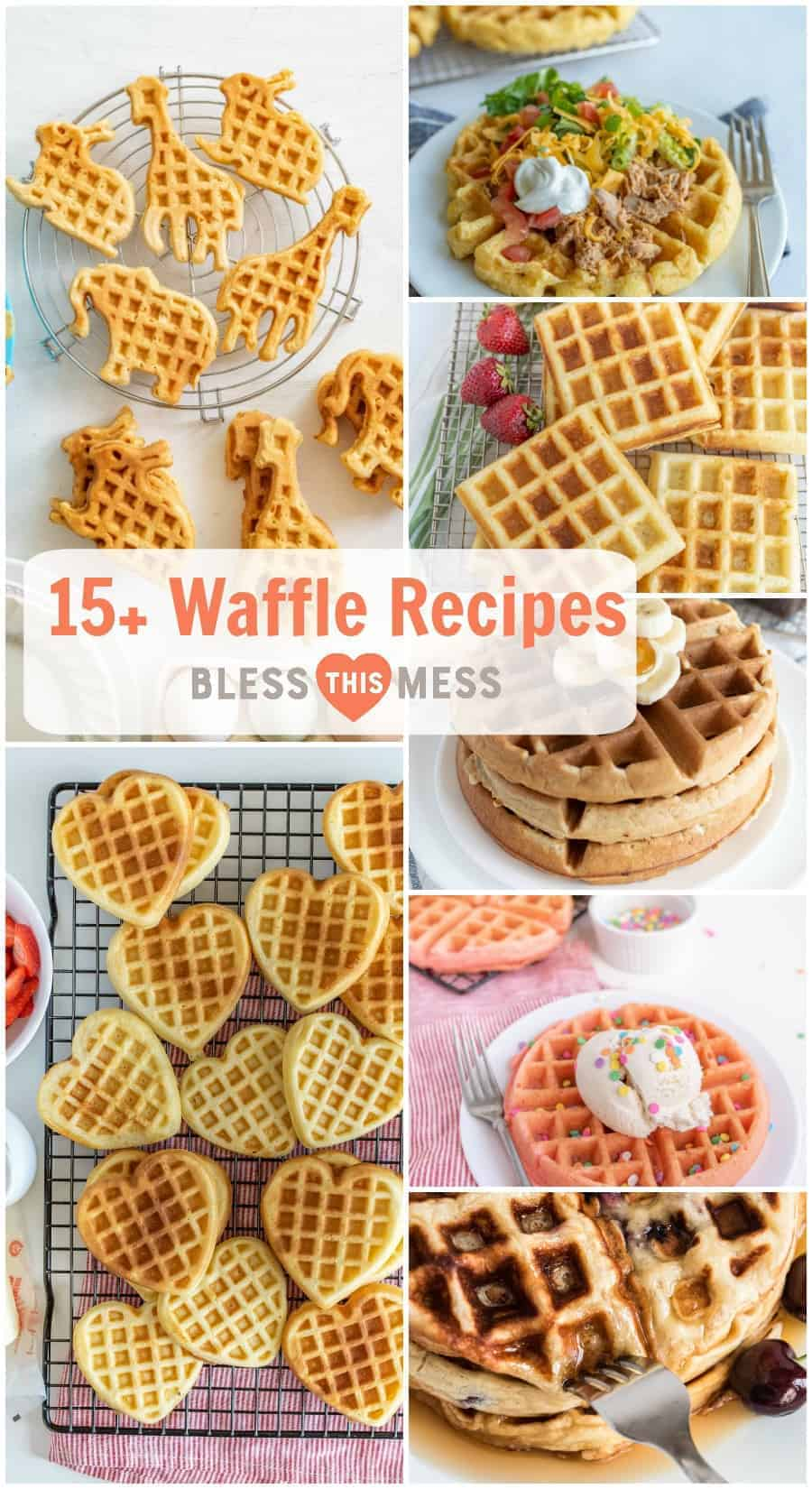Did you know there are TONS of ways to get creative and put a spin on classic waffles?! This list of 15+ easy and delicious homemade waffle recipes will get you thinking outside the box and enjoying plenty of yummy sweet and savory waffle varieties! #waffles #wafflerecipe #creativewaffles #breakfast #baking