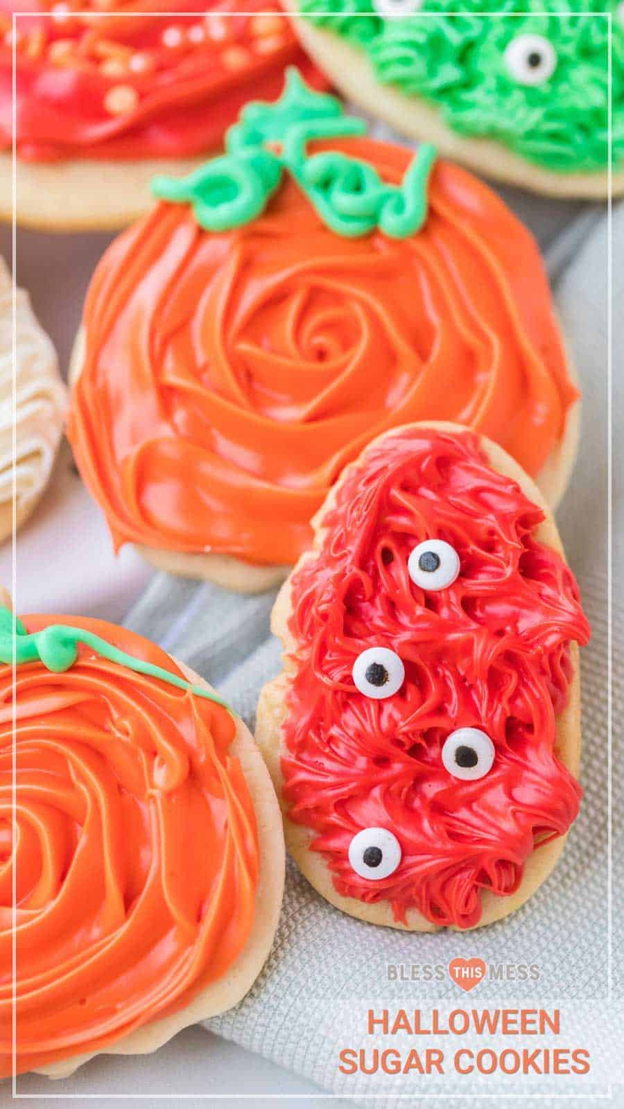 Halloween sugar cookies are adorable, soft, and sweet cookies that are sure to create wonderful memories baking with your family and festive treats for this spooky holiday! As a lover of sweets, I'm of the firm belief that sugar cookies aren't just for Christmas, and candy isn't just for Halloween! Celebrate this fun (and sometimes spooky) holiday by baking a big batch of these festive sugar cookies with your loved ones this Halloween season! #sugarcookies #cookies #halloweensugarcookies
