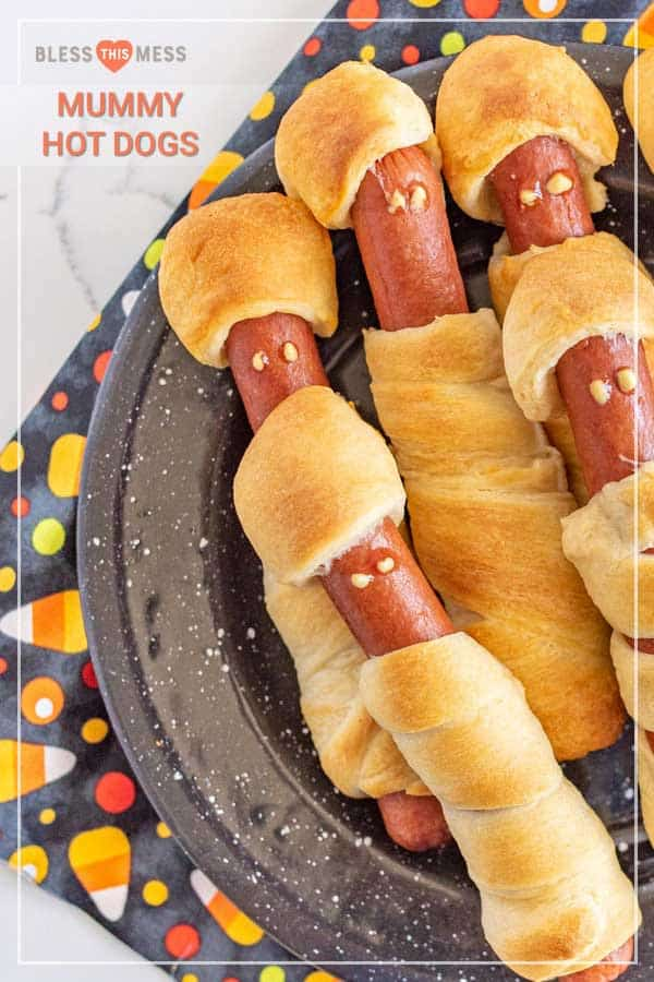 Title Image for Mummy Hot Dogs and a plate of crescent dough-wrapped hot dogs with mummy faces