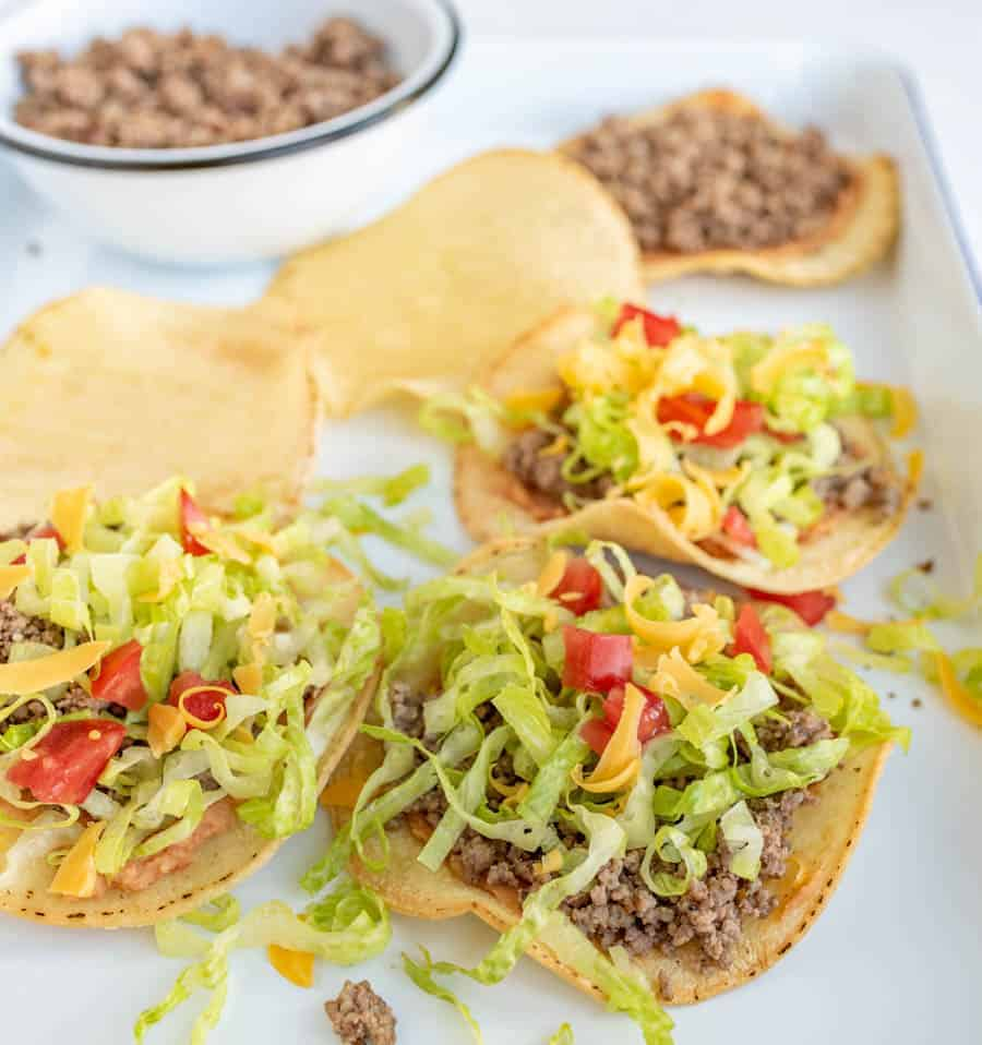 Beef tostadas are a delicious and savory weeknight meal if you ever want a Mexican-inspired dish that comes together quickly and tastes absolutely amazing! #tostadas #beeftostadas #texmex