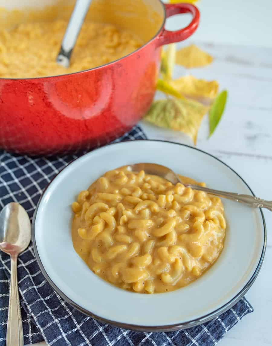 Quick and easy pumpkin macaroni and cheese is such a delicious classic meal with a fun (and easy to hide) twist to infuse a healthy veggie into this forever favorite family dish! #macandcheese #pumpkinmacandcheese #pumpkinrecipes #macaroniandcheese #pasta #pumpkinpasta