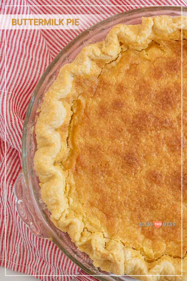 Old fashioned buttermilk pie is an easy pie recipe that produces a rich, thick, sweet custard-like center when baked. If you're expecting company soon, this buttermilk pie recipe is the best dessert to greet them with! It's one of the simplest pie recipes ever, too, as you just add a quick custard filling to a prepared pie crust and bake for just under an hour! #custardpie #buttermilkpie #homemadepie #easypie #pierecipe #oldfashionedbuttermilkpie #holidaypie #pie
