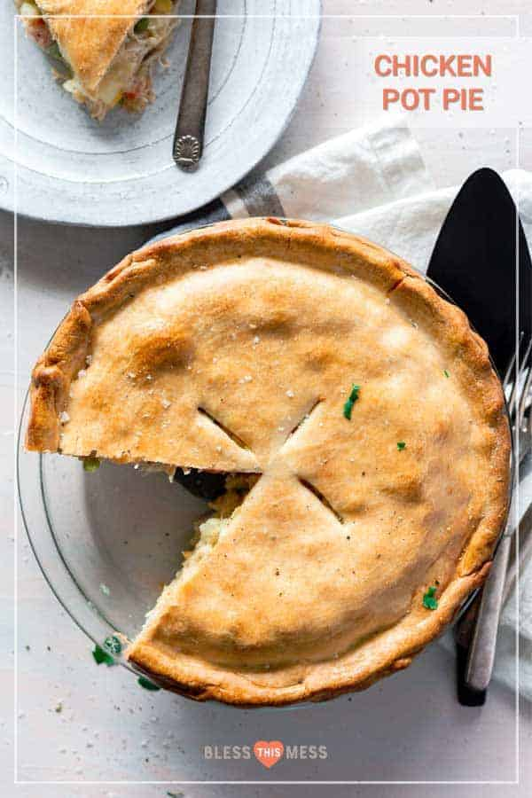 Title Image for Chicken Pot Pie and a clear glass pie plate with chicken pot pie with once slice removed