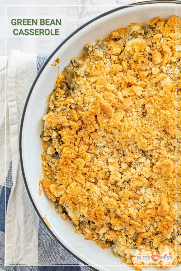 Green bean casserole is a savory holiday side dish with all kinds of big and delicious flavors, and it's totally easy to make day of or ahead of time! This green bean casserole is the perfect homemade side to bring to holiday celebrations with loved ones, and it's a piece of cake to whip up with only 15 minutes of prep time and 30 in the oven. #greenbeancasserole #greenbeans #casserole #greenbeancasserolerecipe #thanksgivingrecipes #holidayrecipes #thanksgivingsides