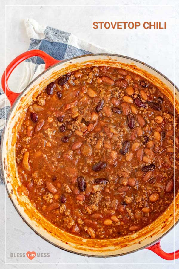 pot of homemade chili with beans