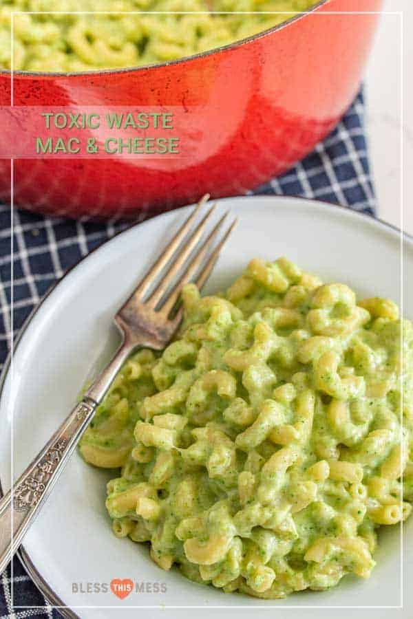 "This delicious broccoli macaroni and cheese recipe is such a fun and creative take on the comfort food staple, and a simple, tasty way to get more green on your plate! It doesn't look like your typical mac and cheese with the green color from broccoli, so I like to break this out around Halloween and call it ""toxic waste mac and cheese"" for something spooky and fun! #broccolimacandcheese #broccoli #macandcheese #macaroniandcheese #halloweenrecipes"