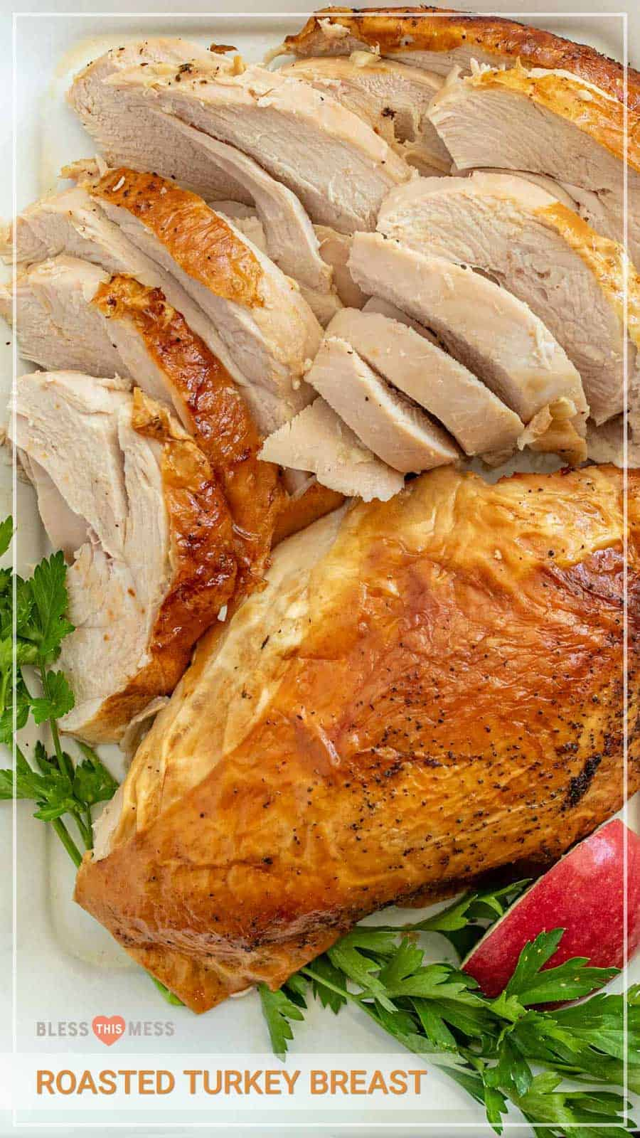 This recipe for roast turkey breast is the perfect simple roasted turkey for a holiday entree that you can easily prep no matter how much cooking or hosting experience you have! It comes out juicy and buttery with a crispy skin every time. Whether you've hosted 20 Thanksgivings or this is your first holiday at your home, you'll love this simple roasted turkey breast recipe that has insanely good flavor and juicy, tender texture. #roastedturkey #turkey #turkeybreast #thanksgivingrecipes