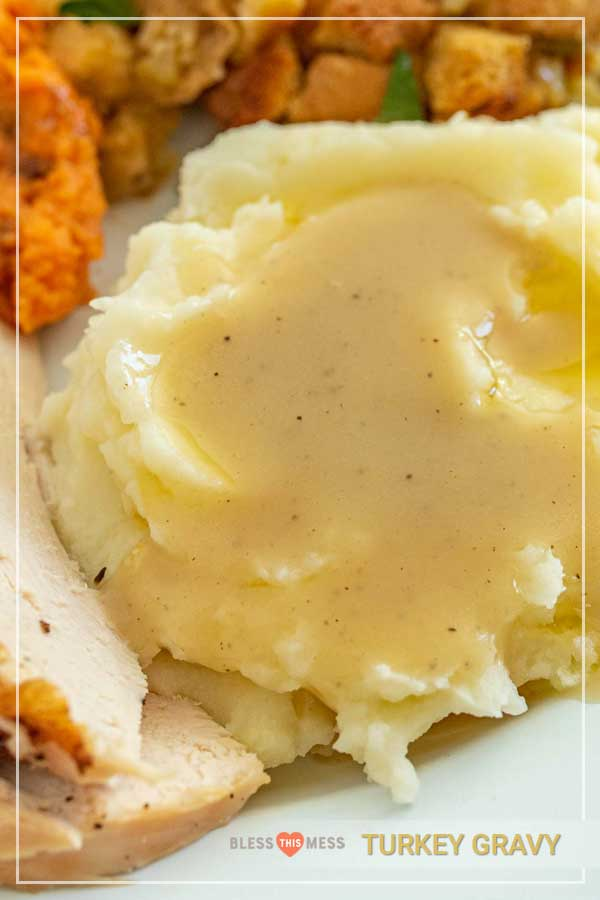 Close-up of a scoop of mashed potatoes topped with homemade turkey gravy