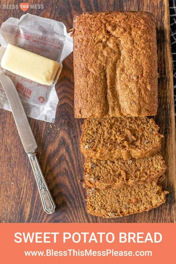 This sweet potato bread is a moist and warming pastry that's the perfect cozy snack or breakfast for cool fall days. If you can make banana bread (which everyone can!), then you'll ace this homemade sweet potato bread recipe that's so simple and tastes like a treat even though there's a veggie-superfood inside! #sweetpotatobread #sweetpotato #baking #homemadebread #sweetpotatorecipes