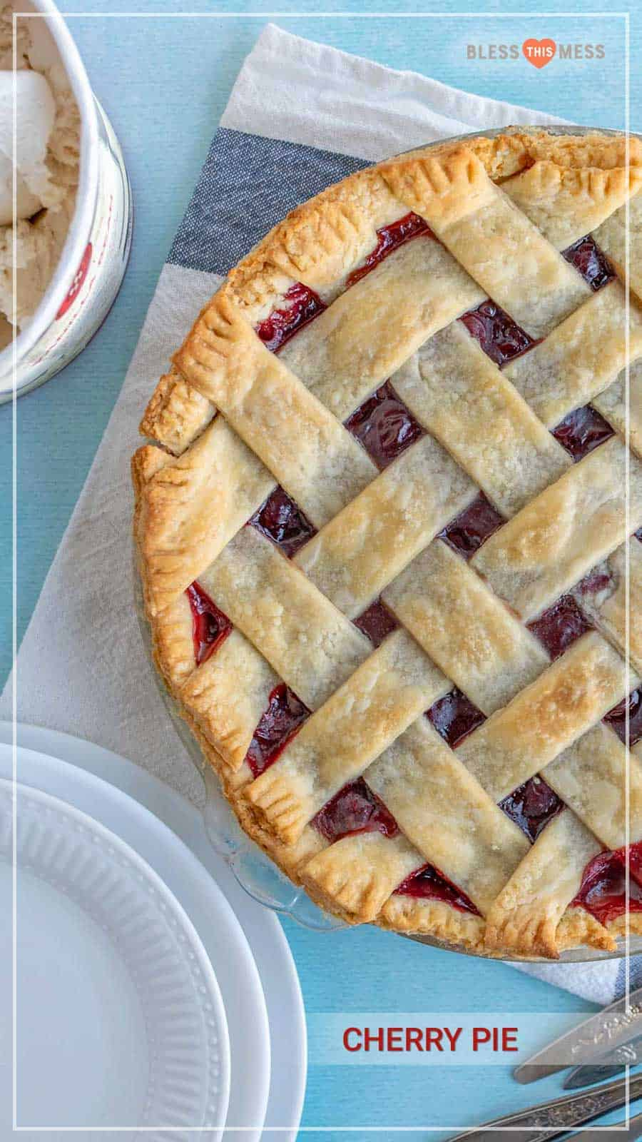 Homemade cherry pie is a subtly sweet and luxurious pie with a flaky crust that is delicious, so simple, and perfect for holidays and other celebrations! I love it as another holiday gathering dessert for those who are fans of fruity sweets -- this one takes the cake. I mean, pie! #cherrypie #cherrypierecipe #pie #baking #cherry #cherrydesserts #pierecipe #easypie
