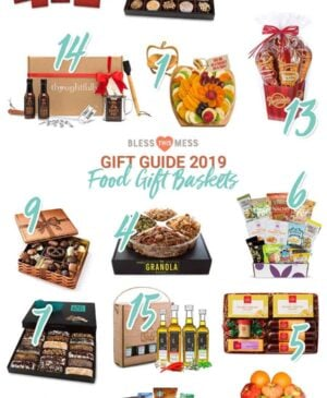 Title Image for Gift Guide 2019 Food Gift Baskets with examples of 15 different food gift baskets