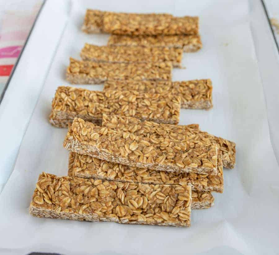 healthy homemade granola bars on white dish