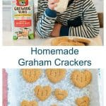 Title and image for Homemade Graham Crackers with heart-shaped graham crackers on a sheet of parchment and an image of a little boy drinking milk next to a plate of graham crackers