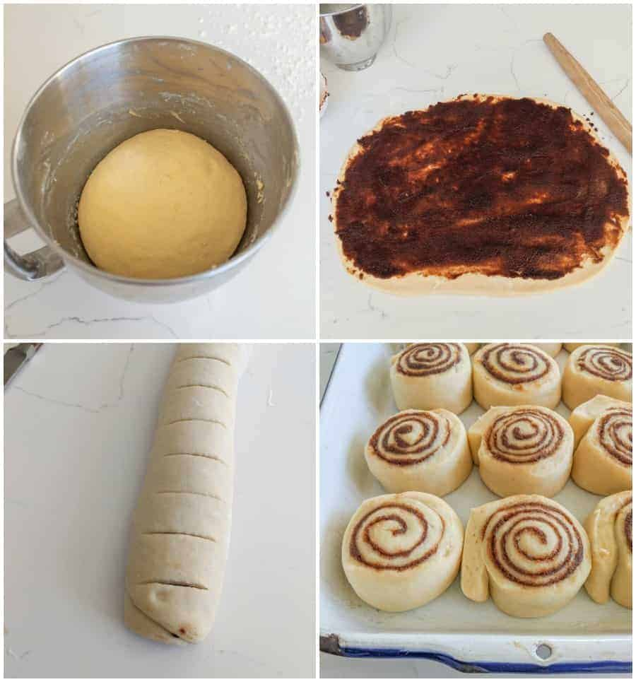 Four photos, the upper left-hand picture is a silver mixing bowl with a ball of dough that has been mixed. The upper right-hand picture has the ball of dough rolled out and covered in cinnamon. The bottom left-hand corner is the dough rolled and scored to be cut into cinnamon rolls. The bottom right-hand corner is a picture of the cinnamon rolls ready to be put in the oven.