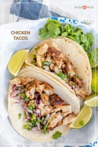 best chicken tacos ever recipe pin two tacos with lime wedges