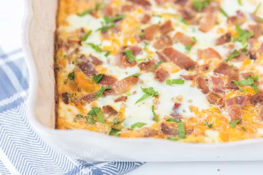 easy bacon and cheese bake in white rectangular casserole dish