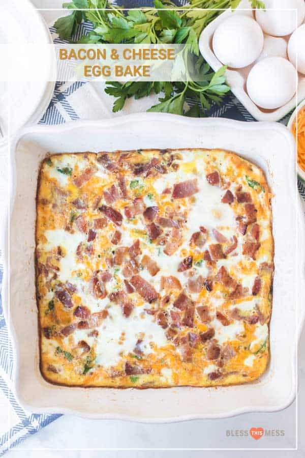 easy bacon cheese and egg bake in casserole dish next to egg carton