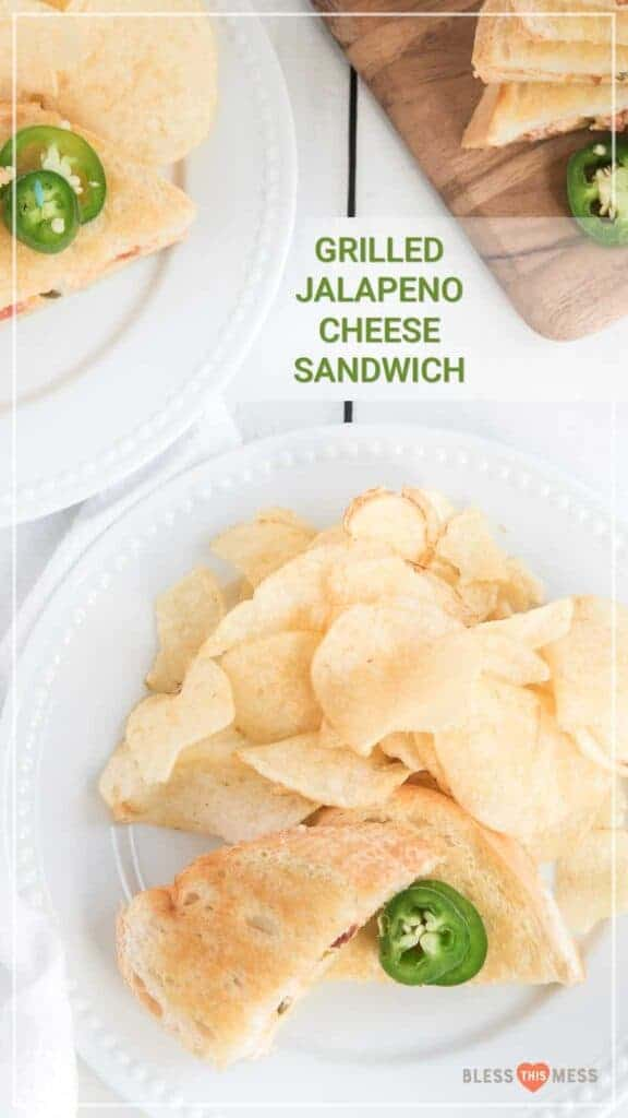 Jalepeno popper grilled cheese sandwich with potato chips