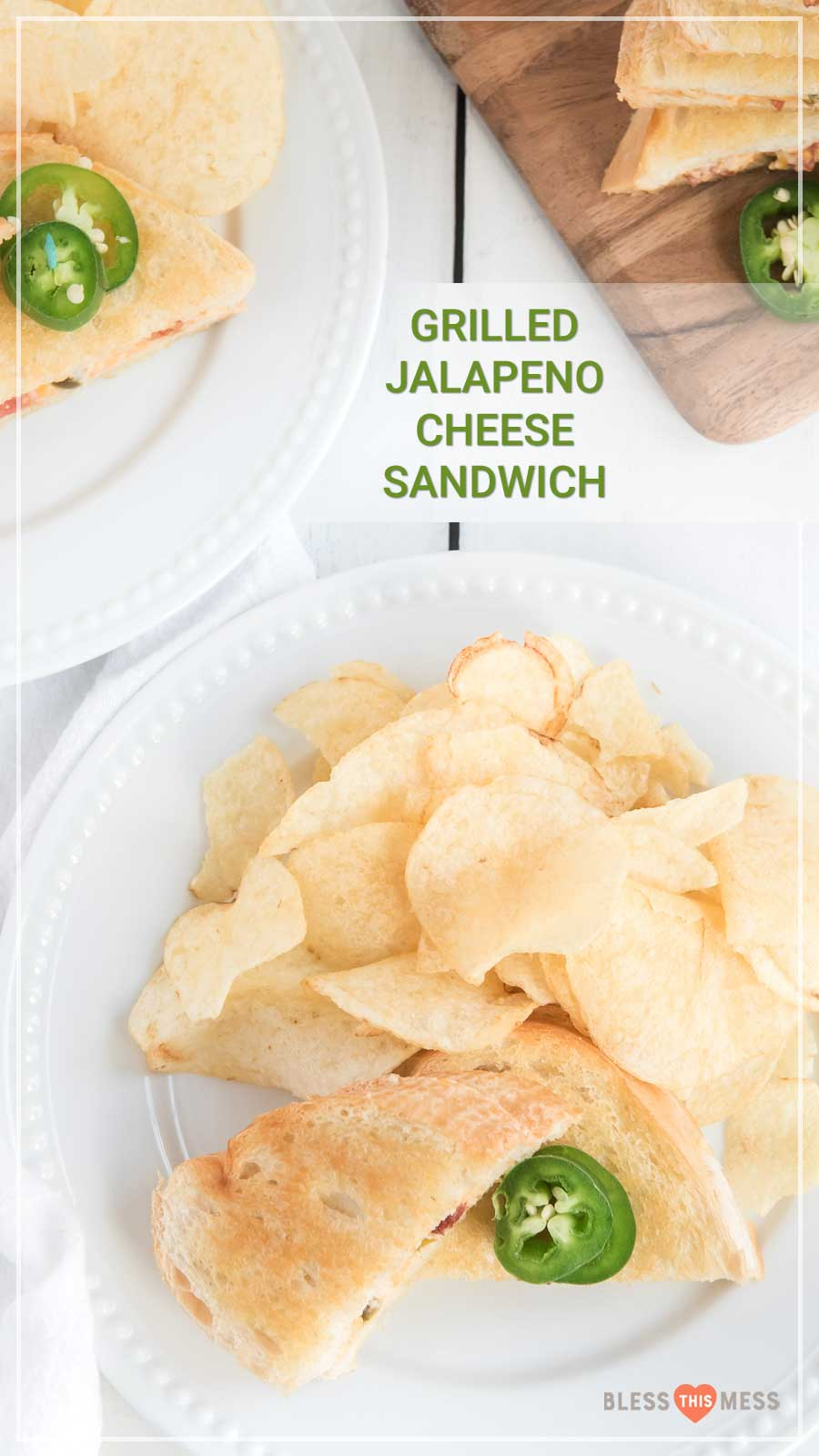 Jalapeno popper grilled cheese sandwich with potato chips