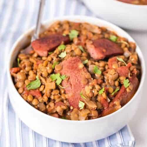 Spicy Lentils with Sausage