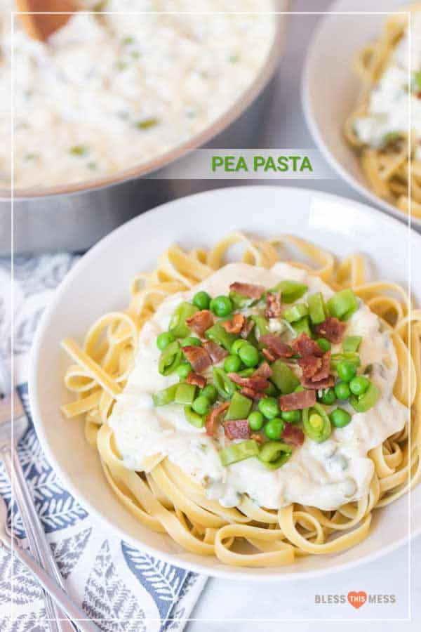 Creamy, cheesy, and made with two types of peas plus bacon, this creamy bacon and pea pasta is a simple weeknight meal that's super fast to make and everyone will enjoy! It's a fun one when you're craving pasta but want something quick and easy and that has a few sneaky veggies inside! #pasta #easypasta #homemadepasta #freshpasta #pastawithbacon #creamypasta