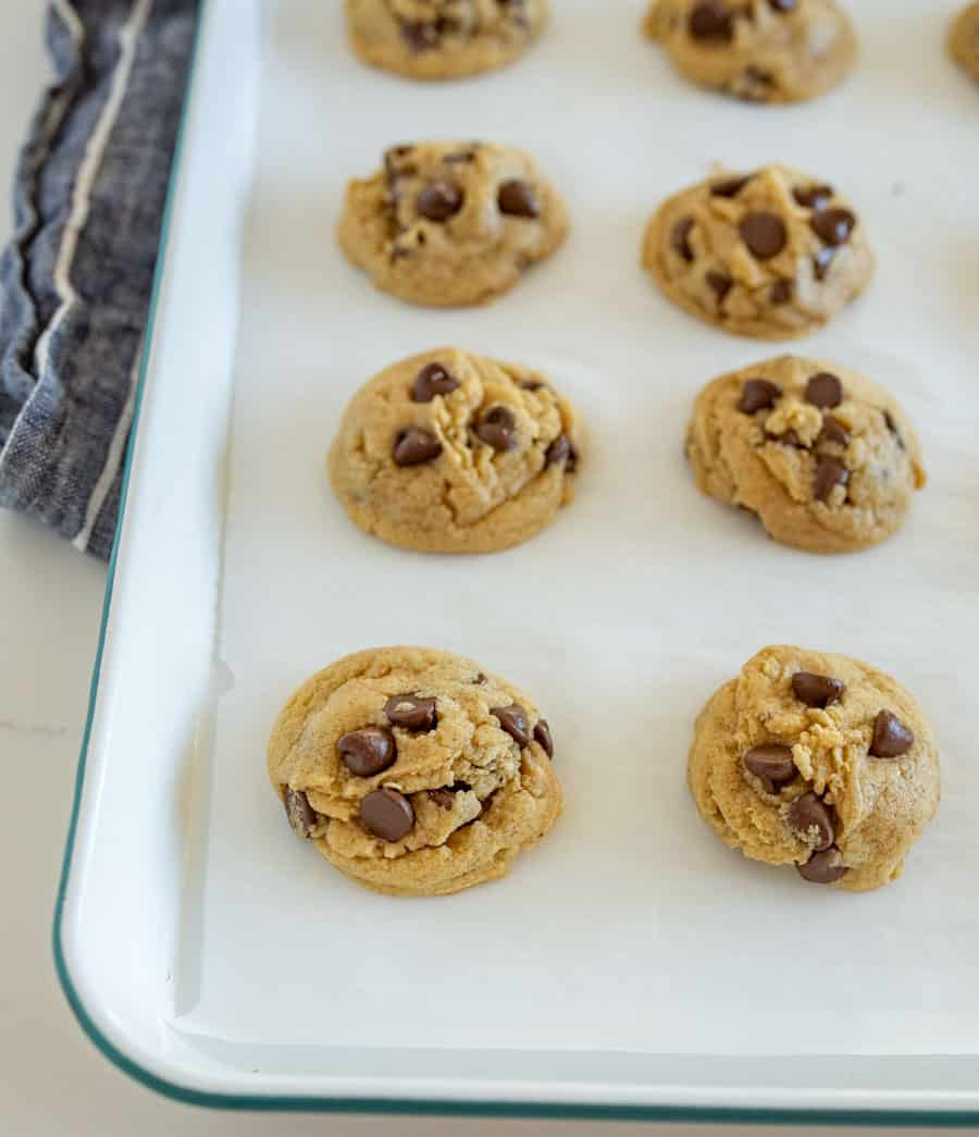 white tray of chocolate chip cookies