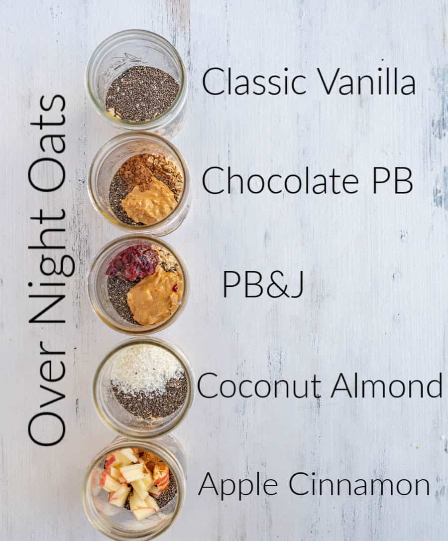 5 kinds of oats from the top down including classic vanilla and apple cinnamon