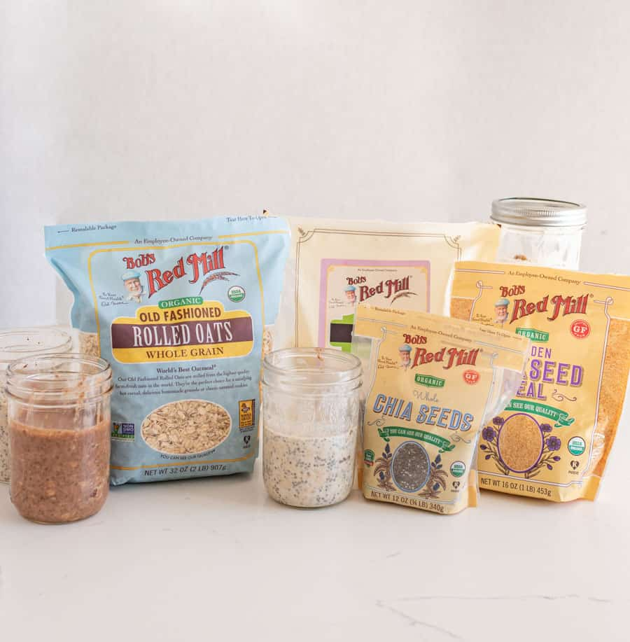 overnight oat ingredients like Bob's Red Mill oats, chia seeds, and coconut in packages