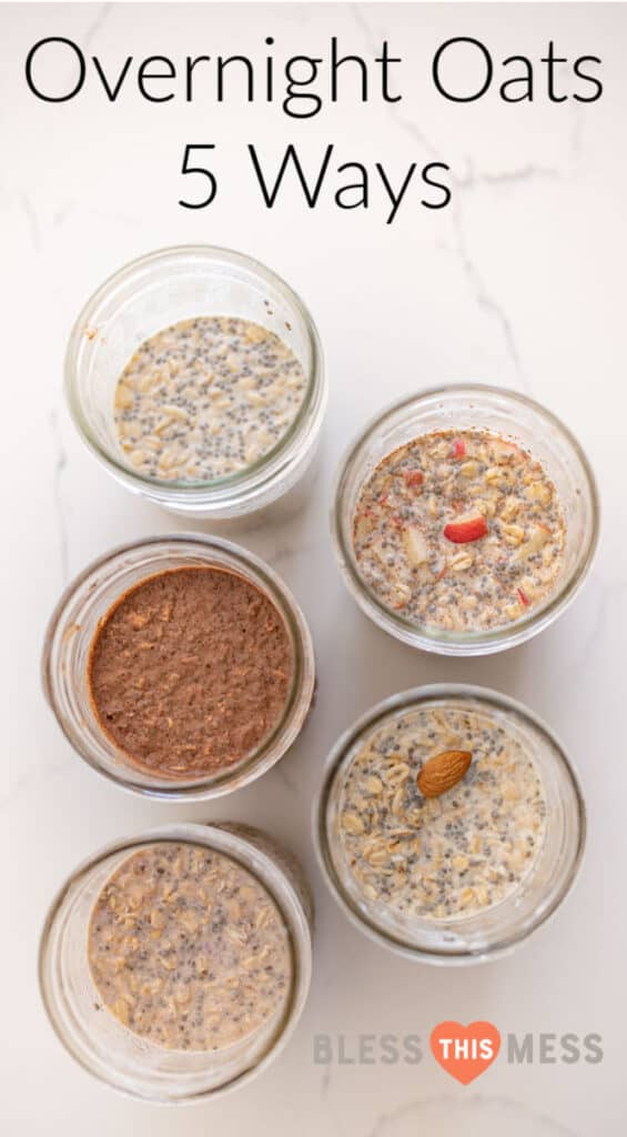 Title Image for Overnight Oats 5 Ways and top view of 5 jars of overnight oats