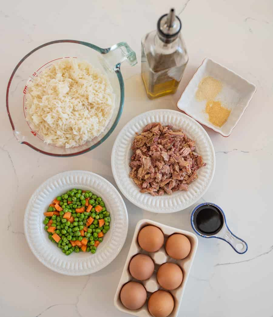 easy fried rice ingredients on white countertop