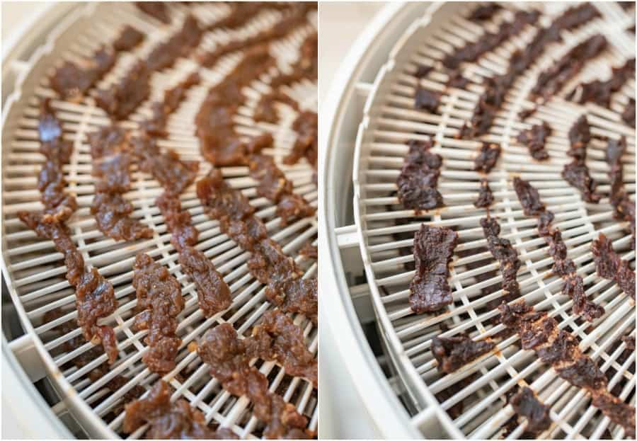 closeup of beef jerky on dehydrator