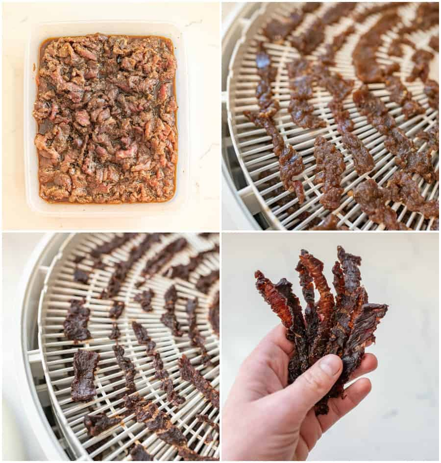 collage of beef jerky images on dehydrator, in a dish, and being held