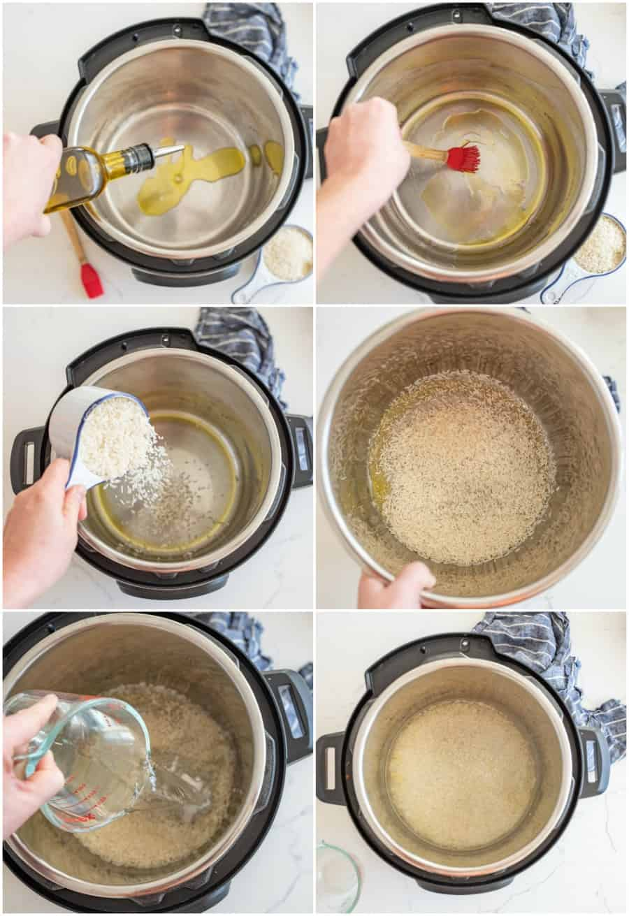 how to cook rice in the Instant Pot step by step collage image