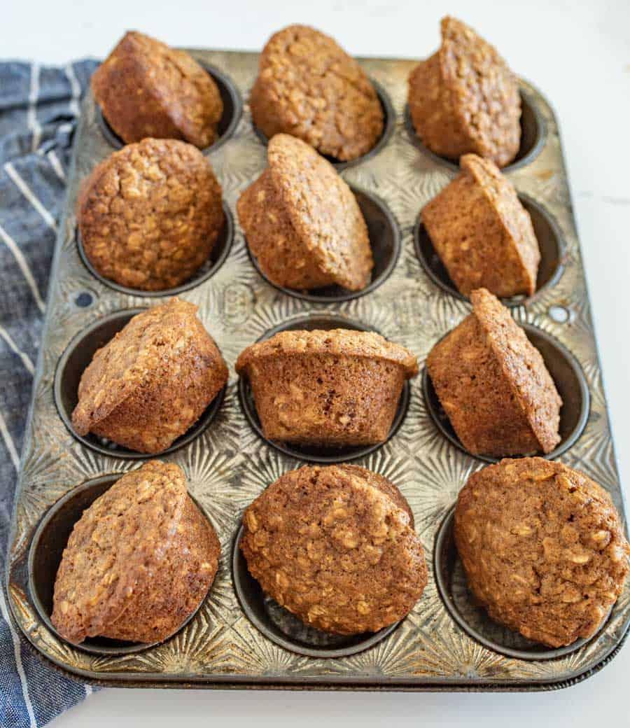 brown sugar oatmeal muffins on muffin tin
