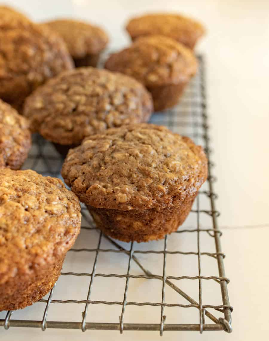 brown sugar oatmeal muffins on cooling rack
