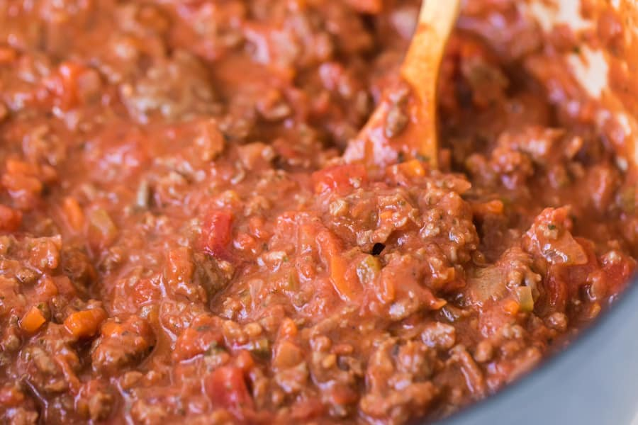 closeup image of a pot of homemade bolognese sauce