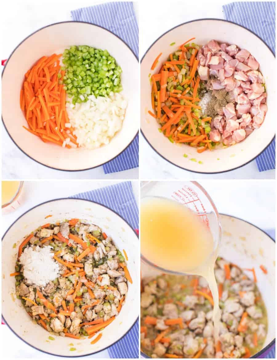 chicken and dumplings soup how to collage image