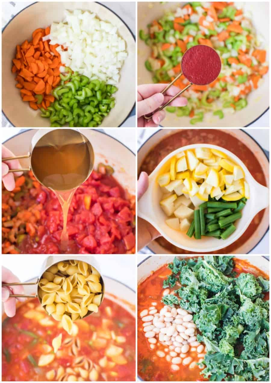 how to make minestrone soup collage image