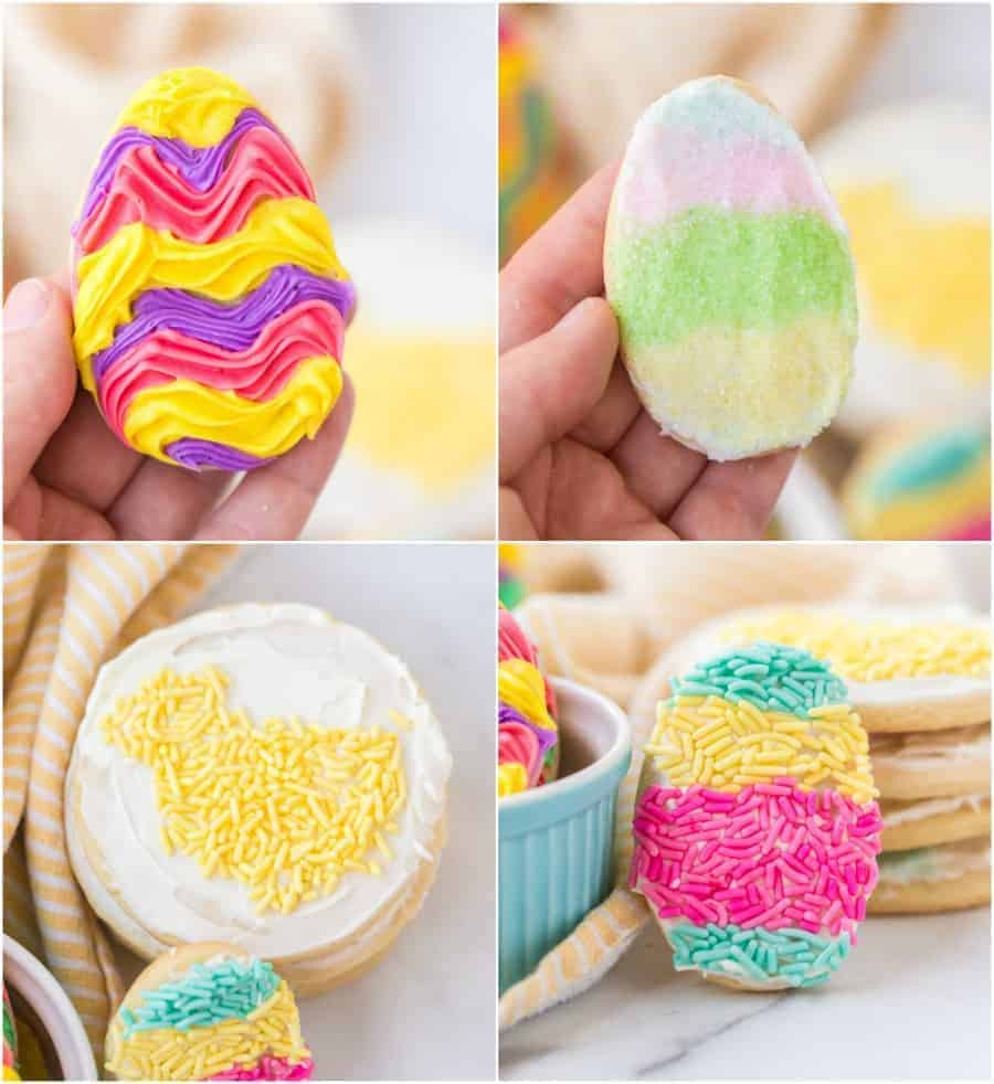 collage images showing different ways to decorate easter sugar cookies with icing and sprinkles