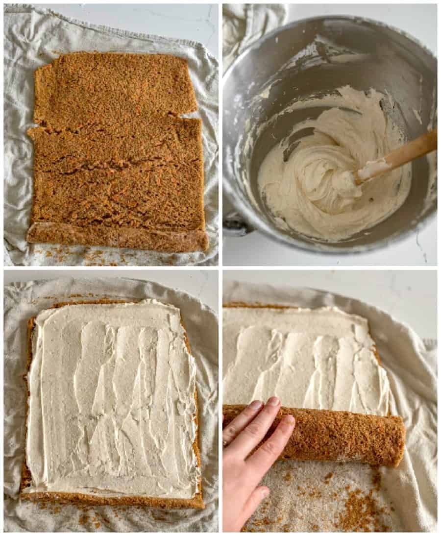 collage image of step by step how to spread icing and roll carrot cake roll
