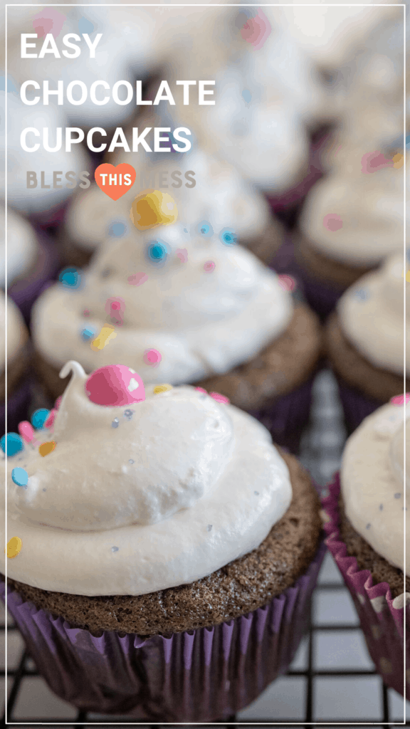 easy chocolate cupcakes recipe pin