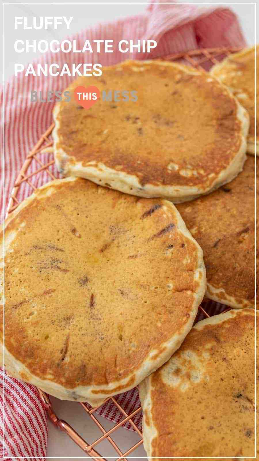 fluffy chocolate chip pancakes closeup pin