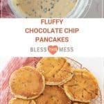 fluffy chocolate chip pancakes recipe pin