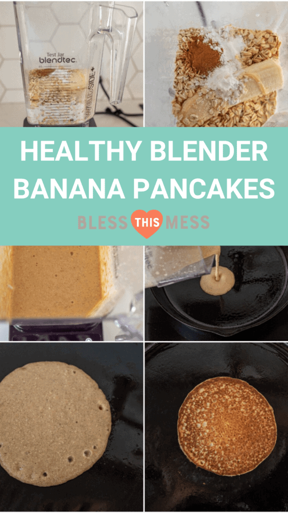 banana pancakes being made in a blender