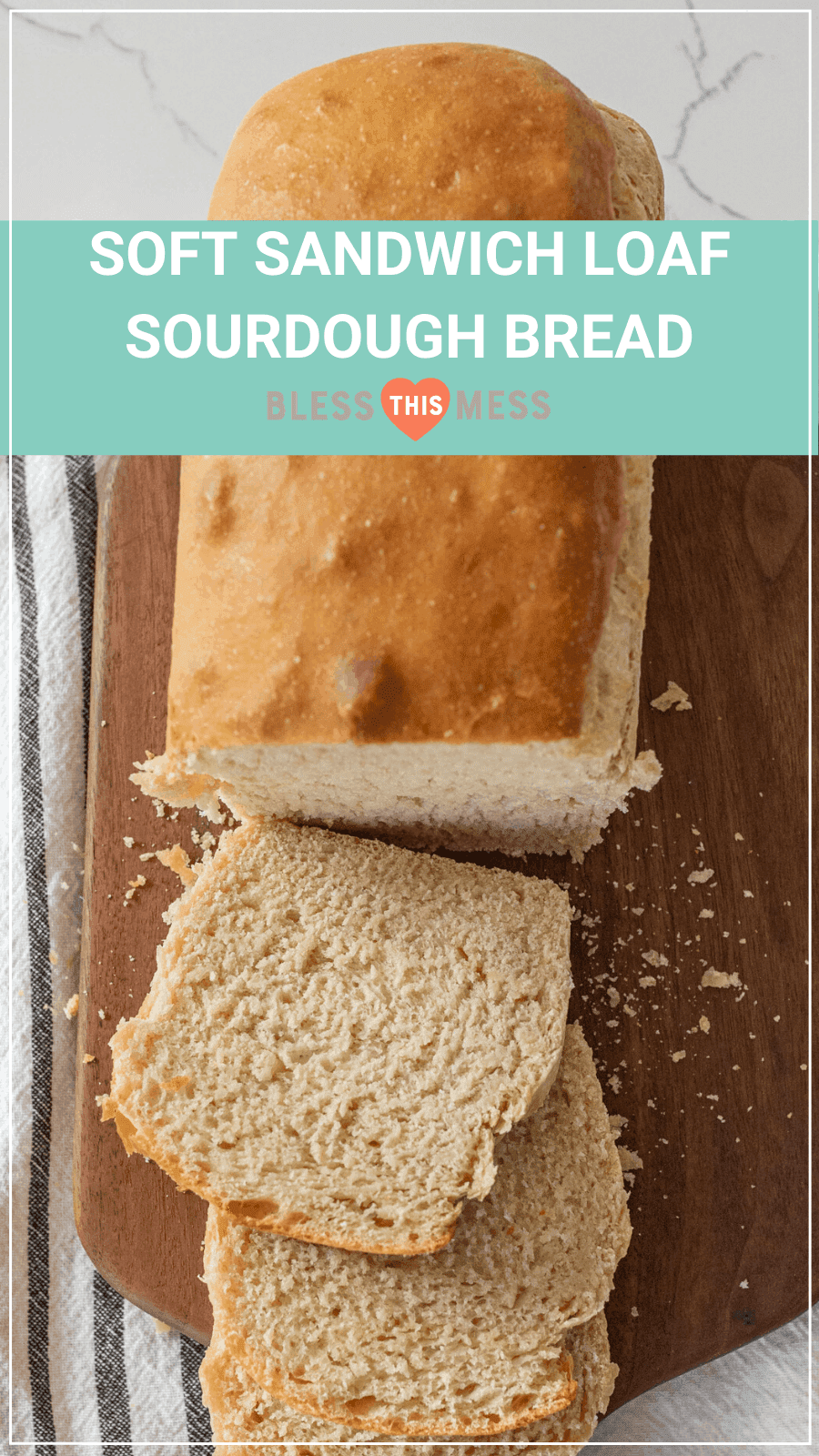 soft sandwich sourdough bread loaf pin