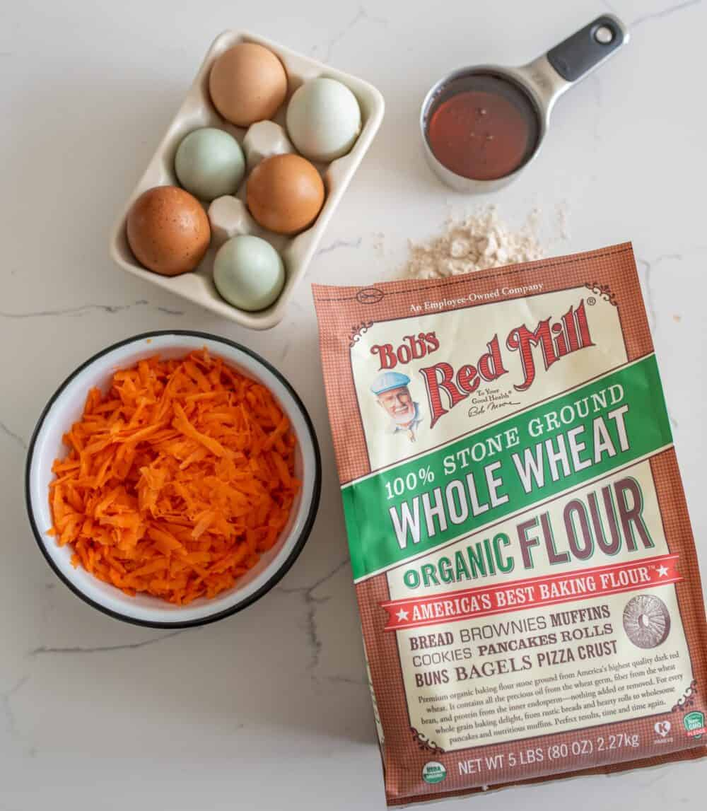 carrots, eggs, maple syrup, and bob's red mill whole wheat flour