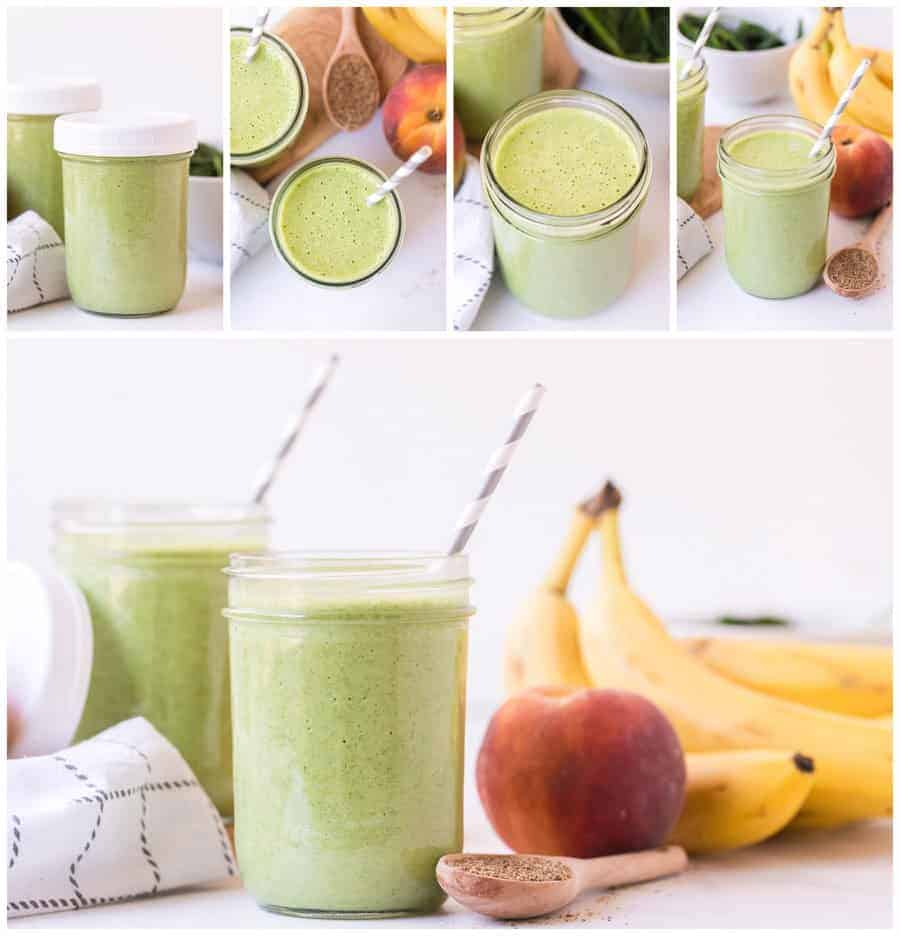 collage image of green smoothie in jar with lid with fruit and with gray and white paper straws