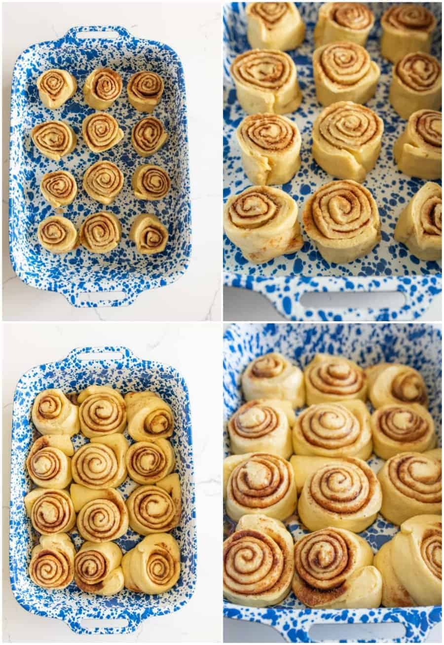 collage image of cinnamon rolls before and after baking in blue and white baking pan