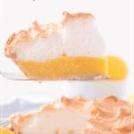 lemon meringue pie with slice remove on pie server