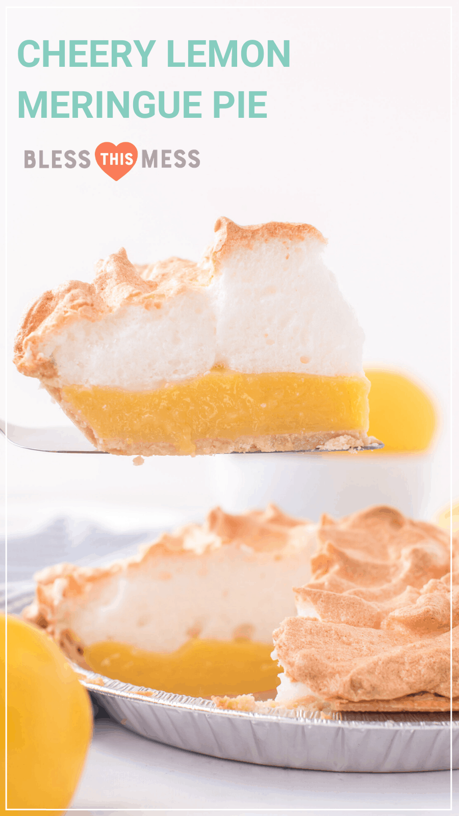 lemon meringue pie with slice remove on pie server